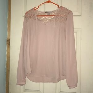 Forever21 Taupe Blouse with Lace Detailing